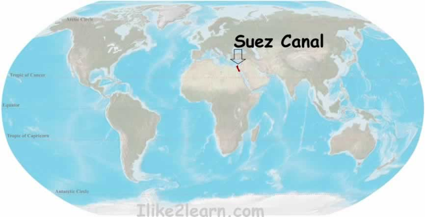 Suez canal in world map timekeeperwatches of suez canal suez canal map history facts suez canal world cultures maps grolier online atlas the suez canal social science san fermin ikastola gumiabroncs Image collections